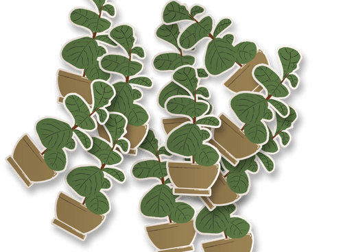 fiddle leaf fig vinyl sticker in brown ceramic pot
