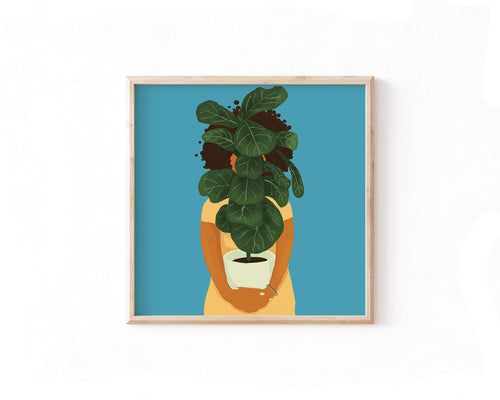 Fiddle Leaf Fig Girl Print - Erika Right True Studio