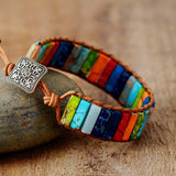 Multi Color Natural Stone Tube Beads Leather Wrap Bracelet