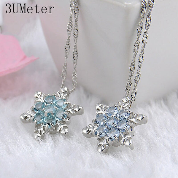 Blue Crystal Snowflake Charm Necklaces & Pendants