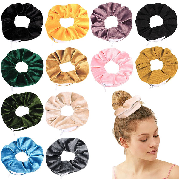 2020 Fashion Korea Hair Scrunchie Hair Ties Elastic Hair Bands Women Girls Zipper Headwear Ponytail Holders Hair Accessories