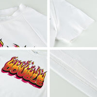 Rapwriter Casual Letter Fire Print Summer TShirt Women Short Sleeve White Basic Harajuku Tee Shirt Slim Cropped Top Streetwear