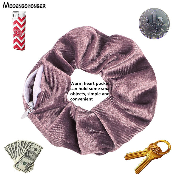 1PC Fashion New Velvet Tencel Pocket wallet Hair Scrunchies Retro Zipper Large Intestine Elastic Hair Band Hair Accessories Hot