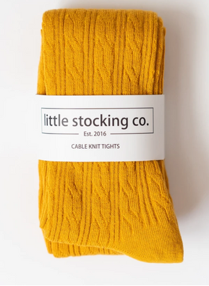 Marigold Yellow Cable Knit Tights - Elo+Mena