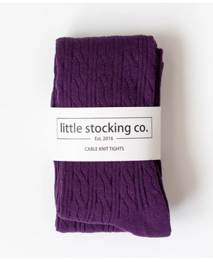 Plum Cable Knit Tights - Elo+Mena