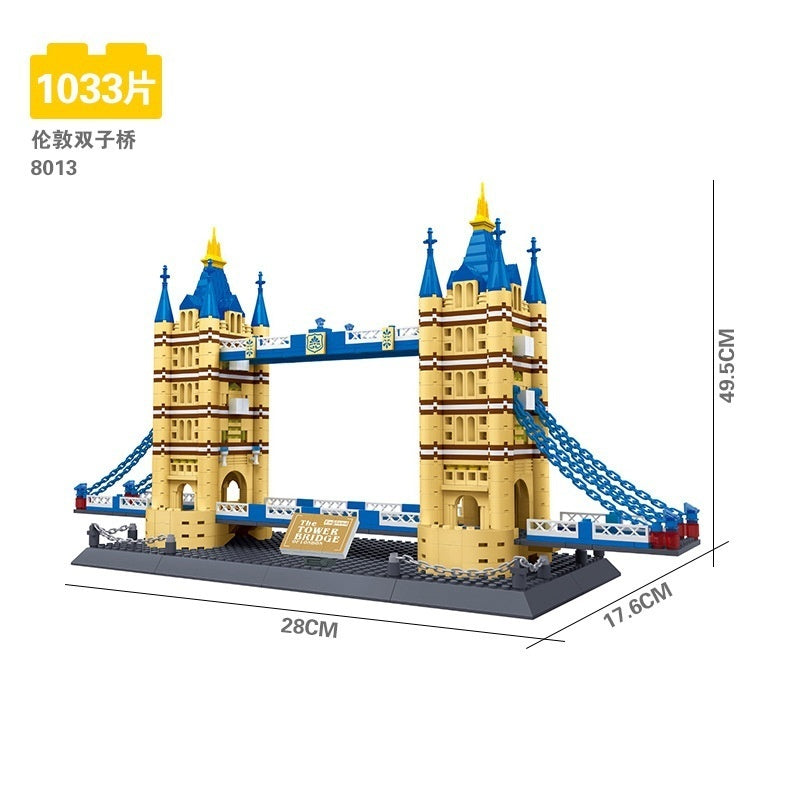 8013 Creator 10214 London Tower Bridge Building Block Wange Structure educational Bricks Set Toy Gift Compatible With Lego
