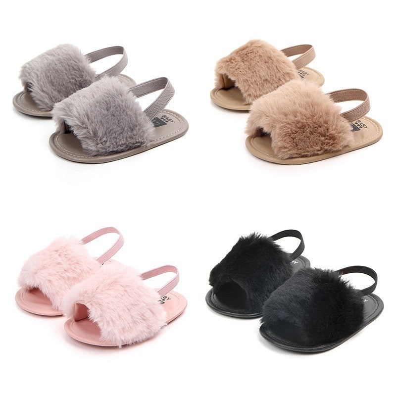 New Toddler Baby Girl Kid Shoes Soft Sole Special Shoes Plush Slide Sandal Anti-slip Shoes
