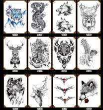Load image into Gallery viewer, Africa Serengeti Lion Temporary Tattoo Indian Tribal Mighty Lion Warrior Waterproof Flash Tattoo Sticker Black Tatoo Men Women