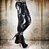Women's Fashion Skull Embossed Leggings Skinny Sports Pants - Mexican Yakuza Costume