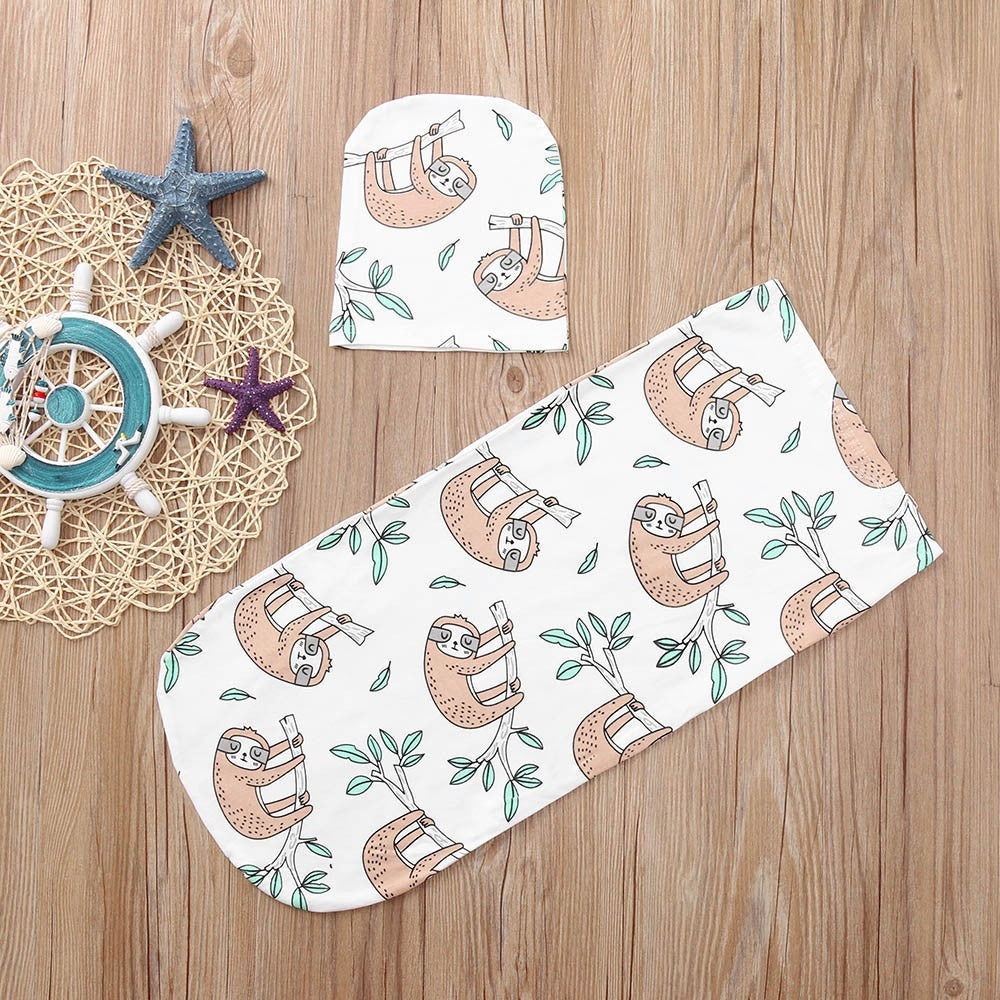 Newborn Infant Baby Boy Swaddle Blanket Sleeping Swaddle Muslin Wrap Hat Set