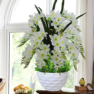 Artificial Flower Butterfly Orchid Potted Plant Decoration