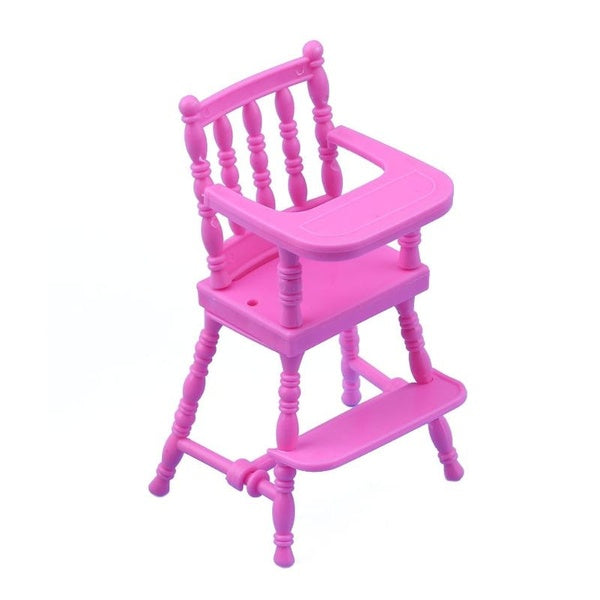 Children Pink Nursery Baby High Chair for baby Dolls House Baby Girls Doll House Furniture Girls Baby Doll Accessories Toy