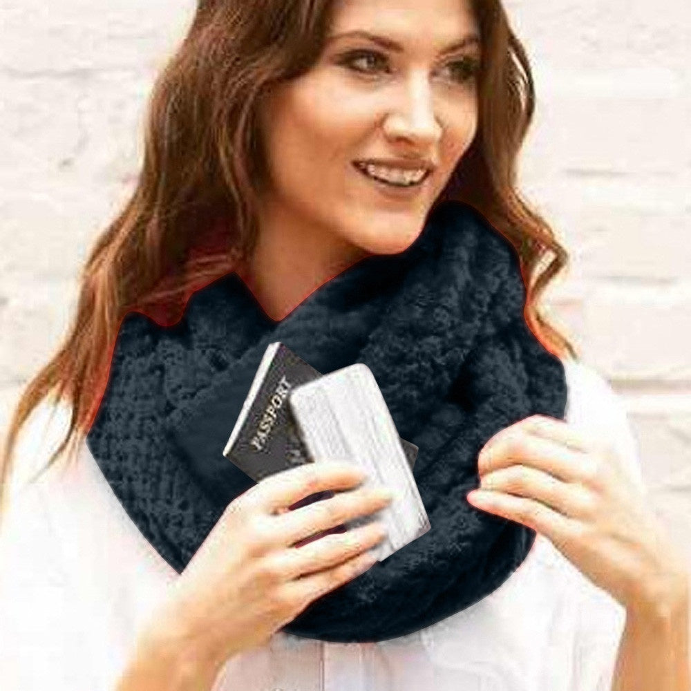 Unisex Lovers Winter Solid Warm Loop Scarf Zippered Secret Pocket Shawl Ring(Gray,Black,Red)