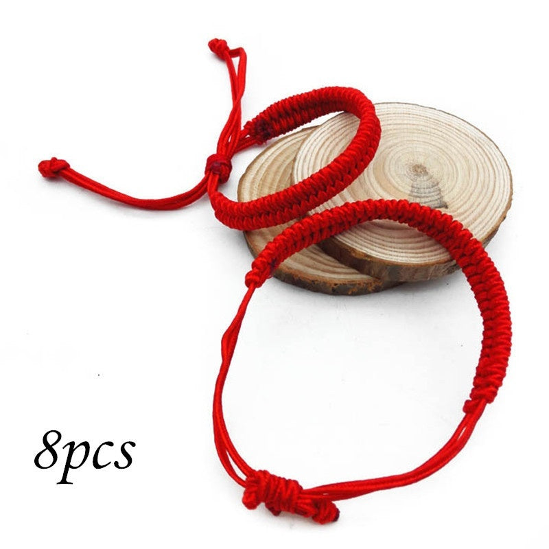 8pcs Hand Made Lucky Bracelet Transfer Red Hand Rope Knot Hand-woven Bracelet Rope