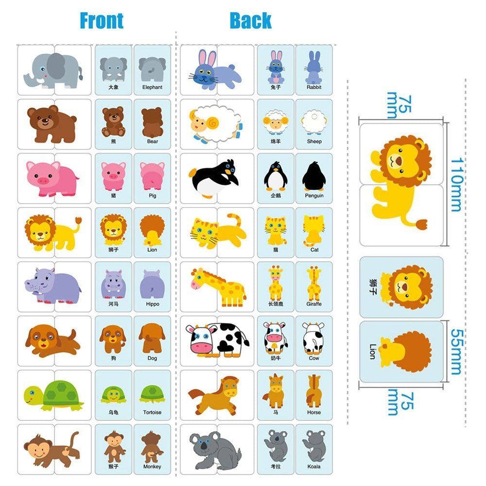 Baby Learn English Match Puzzle Montessori Cognitive Card Infant Education Toy