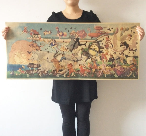 High quality vintage poster about Hayao Miyazaki long anime collection retro decorative painting kraft paper poster 100x42cm