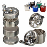 1pc 4 Layers Herb Tobacco Spice Weeds Grass Aluminium Grinder Smoke Crusher Hand Crank Muller Mill Pollinator Smoking Accessories