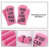 Wine Coffee Fuzzy Coral Fleece Medium Socks for Women Wine Gift Funny Novelty Letter Printing IF YOU CAN READ THIS Socks