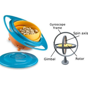 Portable Baby Feeding Dish Cute Baby Gyro Bowl Universal 360 Rotate Spill-Proof Bowl