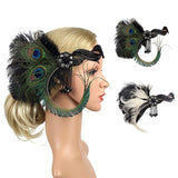 1920s Headpiece Feather Flapper Headband Great Gatsby Headdress Vintage