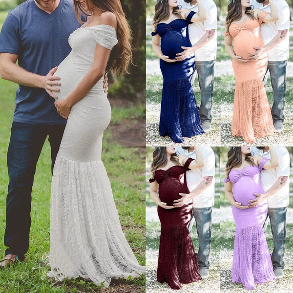 Womens Pregnants Sexy Photography Props Off Shoulders Lace Nursing Long Dress