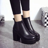 snow boots Women Square Heel Platforms Leather Thigh High Pump Boots Shoes botines mujer 2018
