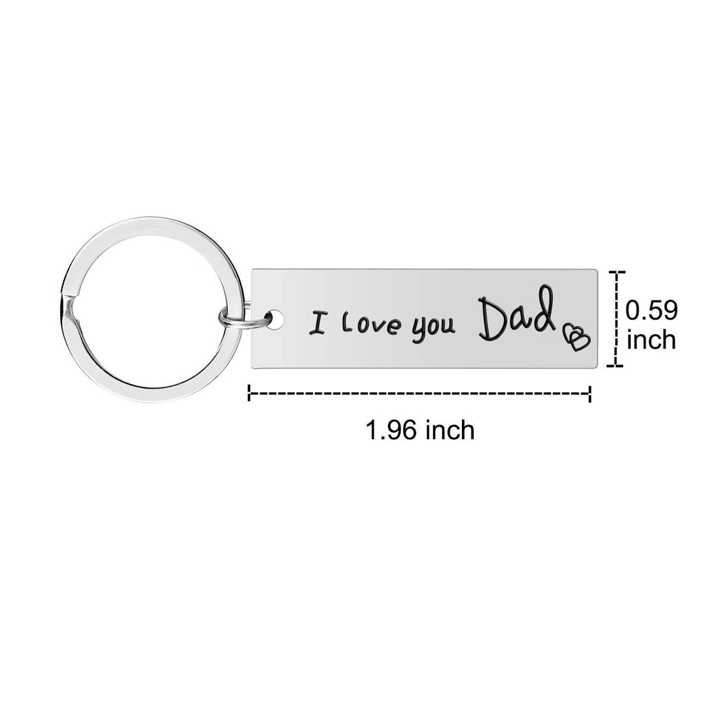 Mom Dad Gifts Keychain Set - 2PCS I Love You Keychain for Dad and Mom, Mother's Day Father's Day Gifts from Daughter Son for Birthday, Stainless Steel Jewelry for Mother and Father (Mom-Dad-Keychain)