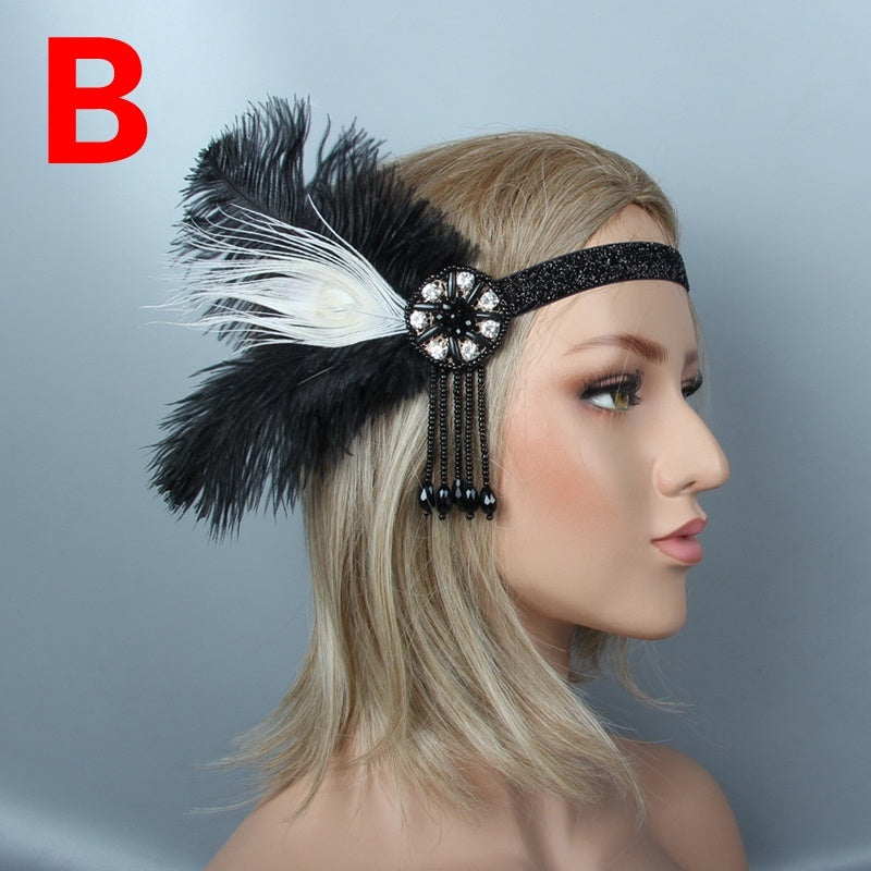 Women Black Rhinestone Beaded Party Headpiece 1920s Vintage Gatsby Feather Headband Lady Hair Accessories