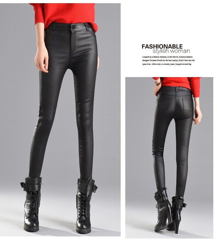 Women Velvet PU Leather Pants Autumn Winter Female Warm Sexy Elastic Stretch Skinny Tight Faux Leather Pencil Pants Trouser