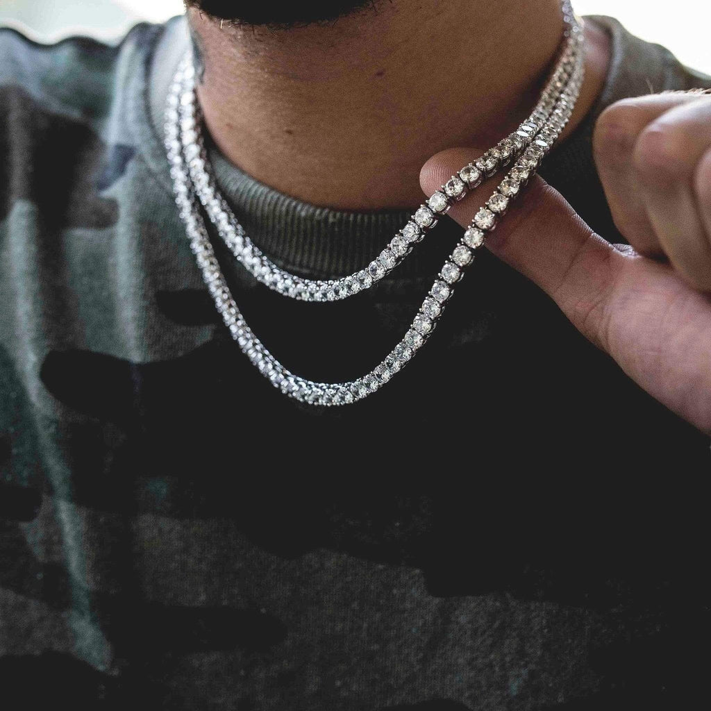 Unisex Hip Hop Bling Iced Out Cubic Zirconia Necklaces Cool Men One-row Tennis Chain Necklaces