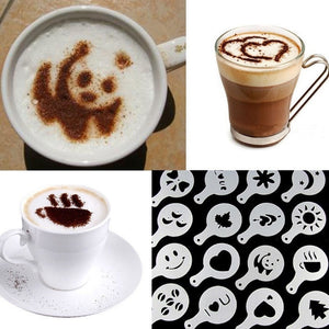 Hot 16Pcs Coffee Latte Art Stencils DIY Decorating Cake Cappuccino FoamTool