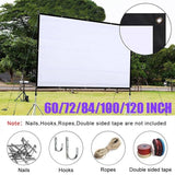 Outdoor 3D Foldable Projector Screen Multimedia Home Cinema Theater Screen 60/72/84/100/120 Inch HD 16:9/4:3 Projection Curtain White Home Decor Home Theater Indoors Outdoors