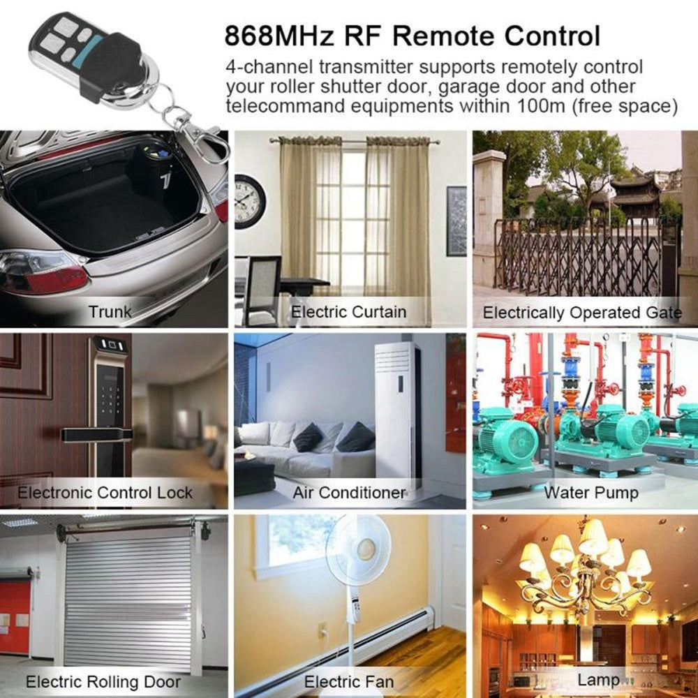 Universal 868 MHz 4-channel RF Transmitter Clone Copy Remote Control FOB Garage Door Opener