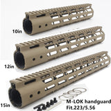 10/12/15''inch Ultralight M-lok Handguard Rail Free Float Mount System Black/Tan/Red Rifle Hunting Accessories