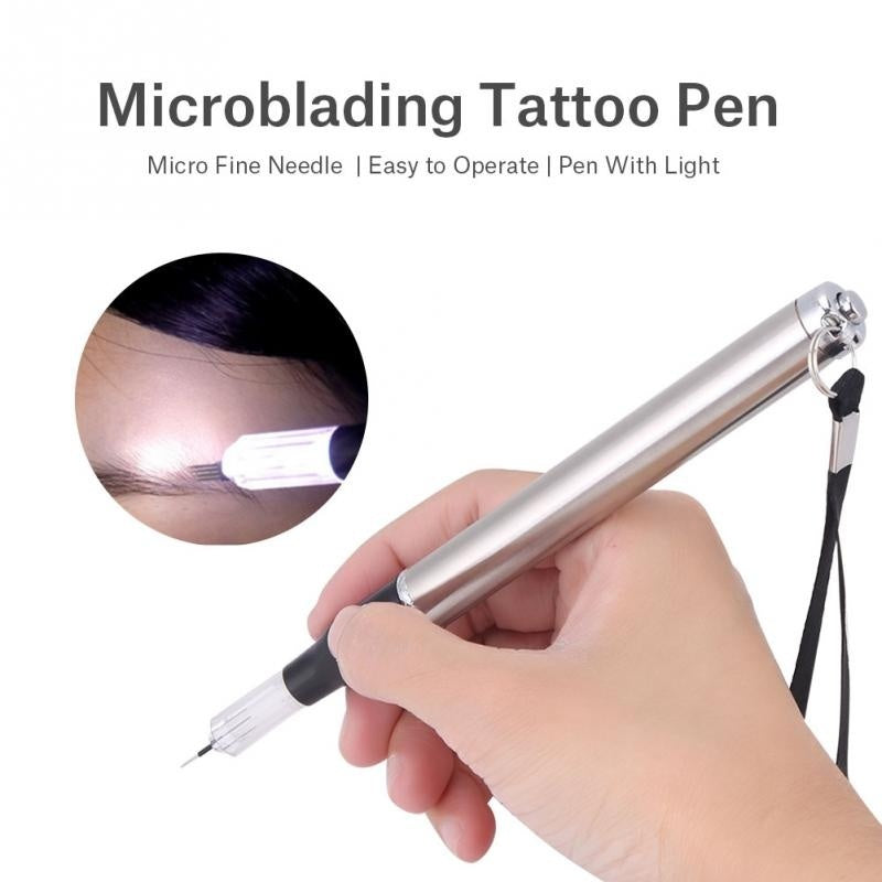 2019 Microblading Pen With Light Multifpurpose Needle Blade Tattoo Machine+ 5pcs R5+ 5pcs 18 Needles Set