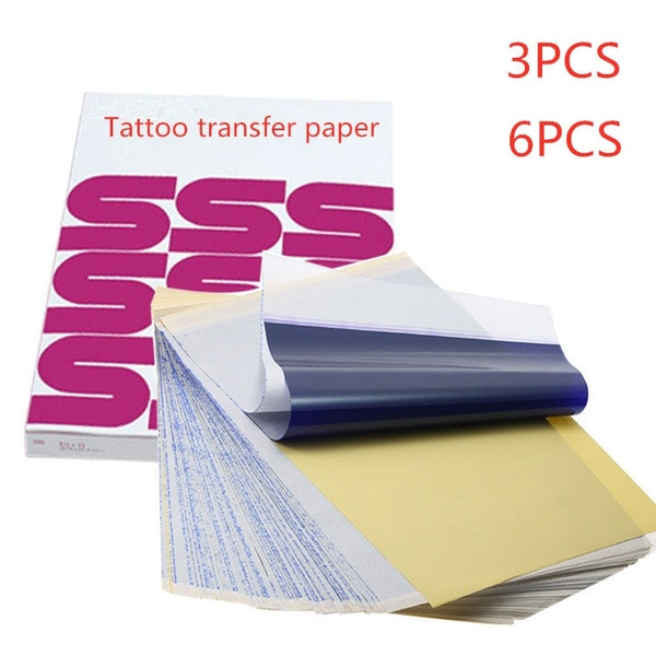 3PCS/6Pcs Tattoo Transfer Paper Tattoo Supplies Carbon Thermal Transfer Paper Tattoo Stencil Copy Tracing Paper Accessory