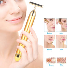 Load image into Gallery viewer, 24K Gold Plated Beauty Bar Facial Roller Face Vibration Skincare Massage Face Lift Firm Electric