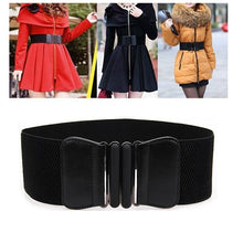 Load image into Gallery viewer, Womens Ladies Faux Leather Vintage Wide Elastic Stretch Buckle Waist Belt Waistband Woman Belts for Dress