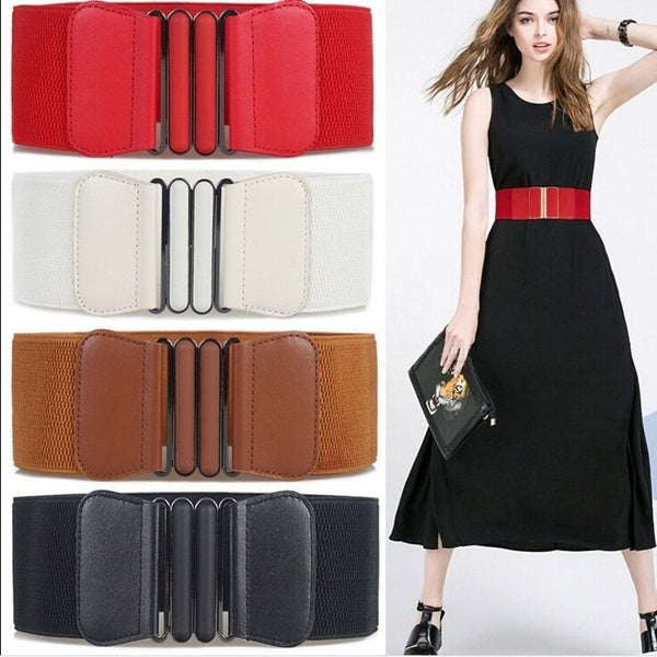 Womens Ladies Faux Leather Vintage Wide Elastic Stretch Buckle Waist Belt Waistband Woman Belts for Dress