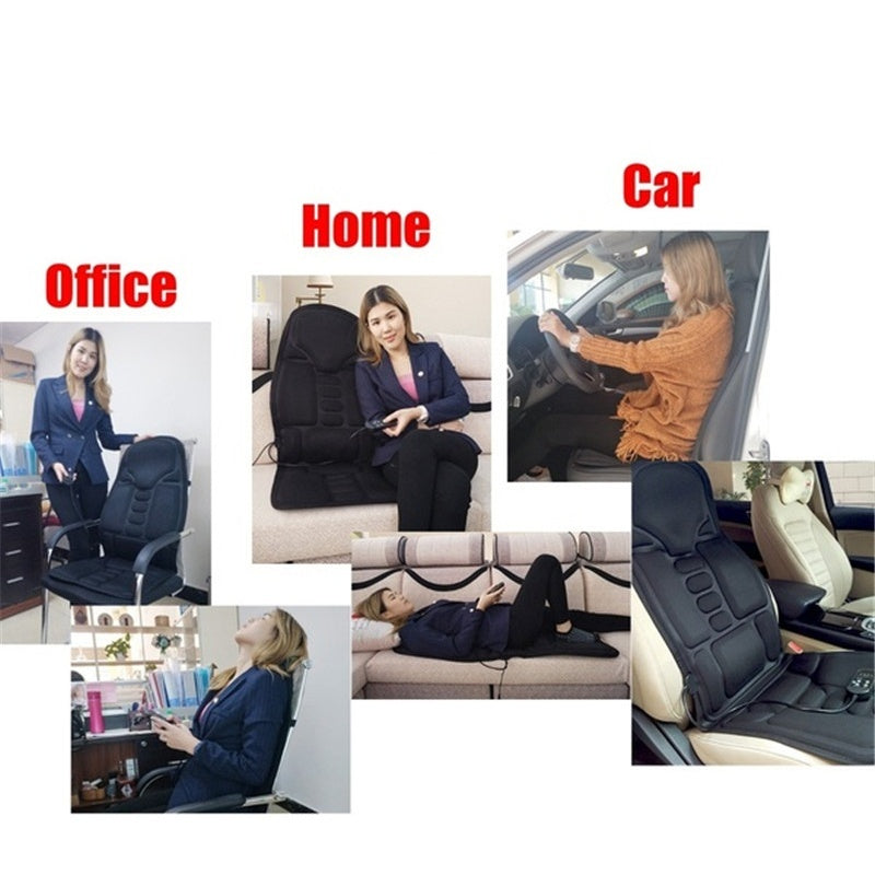 Heated Vibration Massage Chair Car Home Office Cushion Back Neck Mattress Pain Relief Massager