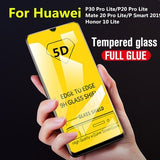 5D Tempered Glass Full Screen Film Protector Verretremp¨¦ For Huawei P30/P20/Mate 20/P Smart 2019/Honor 10 Lite