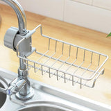 Stainless Steel Sink Faucet Hanging Storage Rack Storage Holder Sponge Bathroom Kitchen Shelf Drain Dry Towel Organizer
