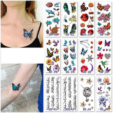 Load image into Gallery viewer, Waterproof Temporary Tattoo Sticker 3D Butterfly Rose Floral Tattoo Stickers Flash Fake Tattoos for Men Women