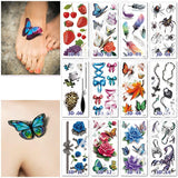Waterproof Temporary Tattoo Sticker 3D Butterfly Rose Floral Tattoo Stickers Flash Fake Tattoos for Men Women