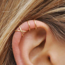 Load image into Gallery viewer, 3Pcs/Set Simple Ear Cuffs for Women Gold Plated Leaf Ear Cuff Earring Climbers Cross Earcuff Ear Clip No Piercing Fake Cartilage Earring
