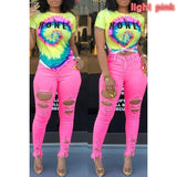 Women Candy Colors High Waist Skinny Ripped Holes Casual Legging Pant Plus Size S~XXXL