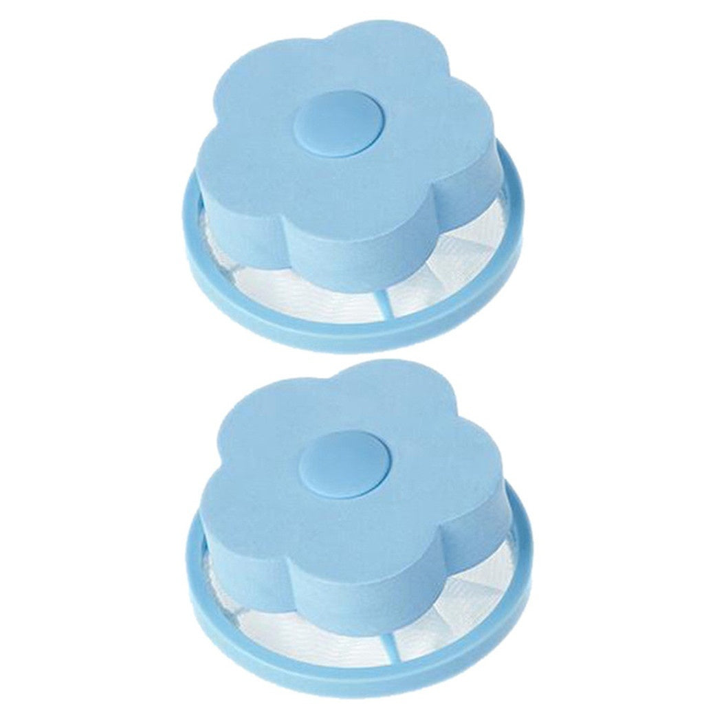 2Pcs/Set Portable Laundry Mesh Filtering Hair Removal Plastic Floating Filter Bag Washer Stay Clean Durable