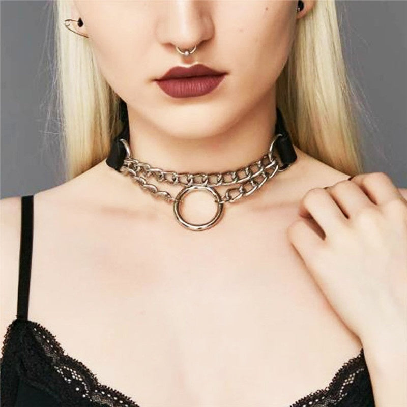 Women Men Punk Exaggerated Handmade Chain Choker Necklace Fetish O Round Metal Leather Collar Bondage Harness Necklace