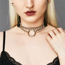 Load image into Gallery viewer, Women Men Punk Exaggerated Handmade Chain Choker Necklace Fetish O Round Metal Leather Collar Bondage Harness Necklace