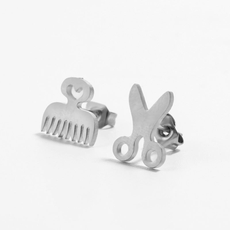Creative Mini Comb Scissors Stud Earring Cute Stainless Steel Hairdressing Tools Earrings Jewelry for Women Girl Gifts 2019